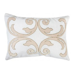 Aidan Gray - Aidan Gray French Scroll Pillow No. 4 - Color/Finish: Ballet Slipper Pink, Whetstone Gray Trim, White Linen Base. Pillow insert is included with pillow.*Minimum Quantity: 2