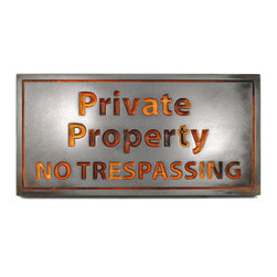 """Atlas Signs and Plaques - Private Property No Trespassing Sign 14"""" x 7"""", Iron Rust, Recessed - A simple, straight-to-the-point sign designating where your property begins and their rights to walk, hunt, or loiter on it ends."""