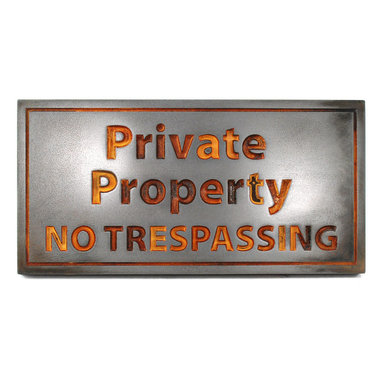 "Atlas Signs and Plaques - Private Property No Trespassing Sign 14"" x 7"", Iron Rust, Recessed - A simple, straight-to-the-point sign designating where your property begins and their rights to walk, hunt, or loiter on it ends."