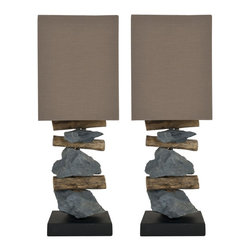 Safavieh - Safavieh Highlander Natural Stone Indoor Table Lamps (Set of Two) - Let your love of nature illuminate your living space with this set of two table lamps. The Highlander combines layered natural stone and tree branches to create an eclectic and thoroughly rustic base, which is topped by a complementary brown shade.