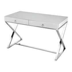 Lazy Susan - White Glass Desk - Sleek And Modern Desk In Super White Glass With Stainless Steel Frame And 2 Sturdy Drawers With Chrome Handles.