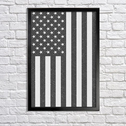 American Flag, B&W - 18x24in print. Frame (not) included.