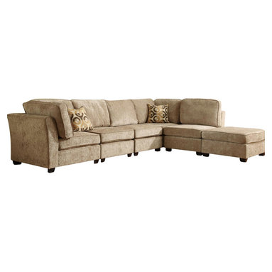 Homelegance - Homelegance Burke Modular Sectional Sofa with 3 Chairs and Ottoman - The clean design of the Burke Modular collection allows for placement in number of living room designs. The decidedly elegant, yet, understated collection is offered in brown beige chenille and features a coordinating ottoman and toss pillows. Also available in dark brown 100% polyester.
