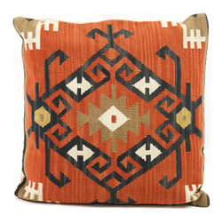 Kathy Kuo Home - Piruz 22 Inch Carnelian, Black & Beige Kilim Wool Pillow - The Piruz delivers an immediate, bold elegance by weaving carnelian orange, black and fawn together into a distinct pattern reminiscent of ancient jewelry and architecture.  A statement piece as appropriate in Santa Fe as it would be in Istanbul.