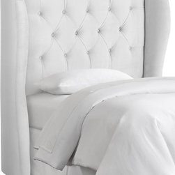 Home Decorators Collection - Custom Channing Upholstered Headboard - The sleek wingback profile of our Custom Channing Upholstered Headboard is enhanced by tight diamond tufting. This luxurious kids bed headboard is available in your choice of fabric, making it simple to integrate into your child's existing decor. Solid pine frame with metal legs and polyester fill. Hand tufted. Easily attaches to any standard bed frame with included hardware. Spot clean only. Hand assembled in the USA and delivered in 2-4 weeks.