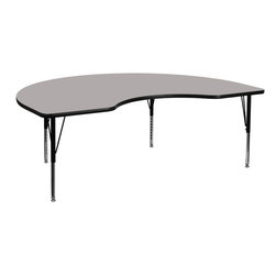 """Flash Furniture - 48''W x 96''L Kidney Shaped Activity Table with Adjustable Pre-School Legs - Flash Furniture's Pre-School XU-A4896-KIDNY-GY-H-P-GG warp resistant high pressure laminate kidney activity table features a 1.25"""" top and a high pressure laminate work surface. This Kidney Shaped High Pressure Laminate activity table provides an extremely durable (no mar, no burn, no stain) work surface that is versatile enough for everything from computers to projects or group lessons. Sturdy steel legs adjust from 16.25"""" - 25.25"""" high and have a brilliant chrome finish. The 1.25"""" thick particle board top also incorporates a protective underside backing sheet to prevent moisture absorption and warping. T-mold edge banding provides a durable and attractive edging enhancement that is certain to withstand the rigors of any classroom environment. Glides prevent wobbling and will keep your work surface level. This model is featured in a beautiful Grey finish that will enhance the beauty of any school setting.; Kidney Activity Table; Pre-School Table; Scratch and Stain Resistant Surface; 1.25"""" Thick High Pressure Grey Laminate Top; 1.25"""" Thick High Pressure Grey Laminate Top; Black Edge Band; 16 Gauge Tubular Steel Legs; Black Powder Coated Upper Legs and Chrome Lower Legs; Legs Adjust in 1"""" Increments; Self-Leveling Nylon Floor Glides; Recommended Seating Capacity: 10 Children; 2 Year Limited Warranty; View All Sizes and Finishes; Weight: 136 lbs; Overall Dimensions: 48""""W x 96""""D x 16.25"""" - 25.25""""H"""