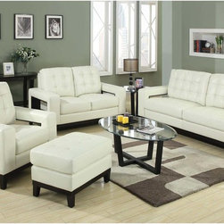 Coaster Modern Cream Leather Sofa Couch Loveseat Arm Chair Unique Arm - Style meets function. Add the paige collection to your living room for a sophisticated and casual style. Featuring plush high resiliency foam cushions, tufting on the back and seats and a solid wood frame around the base. What sets this sofa collection apart is the unique and convenient storage compartments on the outside of each side arm.