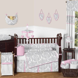 Sweet Jojo Designs - Elizabeth Pink and Gray Damask 9-Piece Baby Crib Bedding Set by Sweet Jojo Desig - The  baby bedding by Sweet Jojo Designs includes: comforter, bumper, dust ruffle, fitted sheet, toy bag, pillow, diaper stacker and 2 window valances.