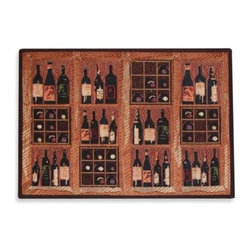 Park B. Smith - Park B. Smith Crate of Wine 1-Foot 7-Inch x 2-Foot 3-Inch Tapestry Rug - This rug is great for your kitchen, patio or wherever you keep or enjoy wine. It features charming images of wine bottles and racks in warm, woody colors.