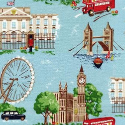 Big Smoke Digital Wallpaper - High quality, matte finish vintage wallpaper featuring a fabric effect finish, with iconic images of London including: Buckingham Palace, Big Ben, black cabs, and double deckers.