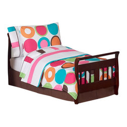 Sweet Jojo Designs - Deco Dot Toddler Bedding Set (5 Pc.) - The Deco Dot 5-Piece Toddler Bedding Set by Sweet Jojo Designs will help you create an incredible room for your child. This girl bedding set features a bright large dots print and a chunky coordinating stripe to create a modern playful look for your child's room. This collection uses the stylish colors of hot pink, bubble gum pink, turquoise, lime green, orange, chocolate brown and crisp white. The design uses polyester fabrics that are machine washable for easy care. This wonderful set will fit all crib and toddler beds.