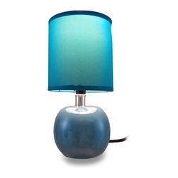 Zeckos - Round Ceramic Accent Lamp with Fabric Covered Cylinder Shade - No description