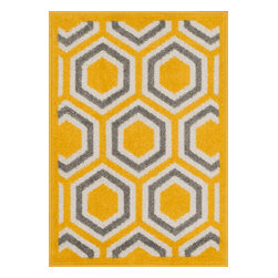"Loloi Rugs - Loloi Rugs Terrace Collection - Lemon / Grey, 1'-8"" x 2'-6"" - Bold design and bright colors come together beautifully in the outdoor-friendly Terrace Collection. Each Terrace rug is power loomed in Egypt of 100% polypropylene that's specially treated to withstand rain and UV damage without staining or fading color.�"