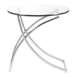 Euro Style - Talisa Side Table - This table is simply stunning. The base reminds us of ballet. Maybe even a 'pas de deux'. Where two become one in the most gracious way imaginable. We digress. It's a clear glass top with a poetic pair of chromed steel bases. It's also a little theater.