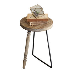 Mis-Match Accent Table - Dress things up with this quirky, rustic-toned accent table. Its soft finish and asymmetrical legs give you an interesting mix of vintage inspirations.