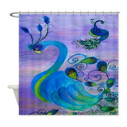 usa - Peacock Paradise Shower Curtain - Beautiful shower curtains created from my original art work. Each curtain is made of a thick water resistant polyester fabric. The permanently applied art work appears on the front side with the inside being white. 12 button holes for easy hanging, machine washable and most importantly made in the USA. Shower rod and rings not included. Size is a standard 70''x70''