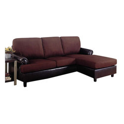 Coaster - Coaster Rupard Sectional with Chaise in Microfiber and Vinyl - Coaster - Sectionals - 500605 - Updated with contemporary design elements like low-profile cushions and tapered wood feet this stylish sectional is an exceptional fit for your modern or contemporary living room decor. Rich brown microfiber and leather-like vinyl lend a two-tone look to the sectional's seat and base adding plush comfort and eye-catching style. Rolled arms frame either end of the sectional and a chaise completes its right side with extended length for lounging.