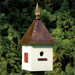 Songbird Suite Bird House - Antique White - This Songbird Suite Bird House will be the perfect addition to your garden. It is constructed of cypress wood with a solid copper roof, decorative cast iron finial and mahogany shutters.
