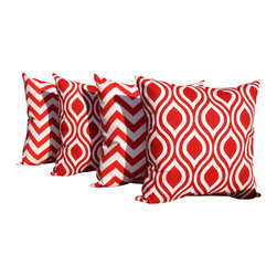 Land of Pillows - Zig Zag Red and Lipstick Red and White Ogee Indoor Throw Pillows - Set of 4 - Fabric Designer - Premier Prints