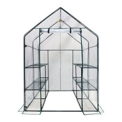 King Service Holding Inc - Ogrow Deluxe Walk-In 6 Tier 12 Shelf Portable Greenhouse - OG6868-D - Shop for Accessories and Parts from Hayneedle.com! With ample growing space for smaller areas the Ogrow Deluxe Walk-In 6 Tier 12 Shelf Portable Greenhouse is ideal for patios and yards alike. Made with heavy duty powder-coated steel shelving which will not rust this mini walk-in greenhouse comes with a clear cover and features a durable velcro hook and loop connections. The 12 shelves are made to hold your heavy pots trays and tools while the small walk-in area provides extra growing and work space. The cover is made to roll up to allow for ventilation and moisture control and will not fade or crack in the sun. Made to give you a head start on the growing season this beautiful greenhouse includes high quality plastic connectors for easy assembly and no hardware is needed. Additional Features Entrance measures 30W x 89H in. 12 shelves provide plenty of space Walk-in design provides plenty of growing space 16-inches between shelves 2-inches between the ground and the first shelf Plenty of room for your plants to grow Roll-up cover for easy access Allows for ventilation and moisture control Cover will not fade or crack in the sun Perfect for displaying greenery in full sun High quality plastic connectors for easy assembly Gives you a head start on the growing season Fits in almost any garden Quality materials for long-lasting durability No hardware needed for assembly Specification: Note - Ties to attach the shelves to the frame and anchors to attach the greenhouse to the ground are not included in this purchase.