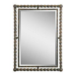 """Uttermost - Iron Uttermost Garrick 35"""" High Wrought Iron Wall Mirror - This wrought iron mirror from Uttermost features a heavy outer frame with a twisted metal design. The hand-forged inner frame holds the beveled glass mirror. Great blend of light and heavy styles as the inner frame seems to float inside the heavy outer frame. Rust wash finish has a warm aged patina. Outer wrought iron frame with a rust wash finish. Hand-forged inner frame. 1 1/4"""" beveled glass edge. Designed by Carolyn Kinder for Uttermost. Hang vertically or horizontally. 35"""" high. 26"""" wide. 2"""" deep.  Outer wrought iron frame with a rust wash finish.  Hand-forged inner frame.  1 1/4"""" beveled glass edge.  Designed by Carolyn Kinder for Uttermost.  Hang vertically or horizontally.  35"""" high.  26"""" wide.  2"""" deep."""