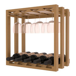 Wine Storage Lattice Stemware Cube in Pine with Oak Stain + Satin Finish - Designed to stack one on top of the other for space-saving wine storage our stacking cubes are ideal for an expanding collection. Use as a stand alone rack in your kitchen or living space or pair with the 20 Bottle X-Cube Wine Rack and/or the 16-Bottle Cubicle Rack for flexible storage.