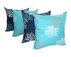 Land of Pillows - Isadella Coral Oxford Navy and Ocean Outdoor Decorative Throw Pillow - Set of 4 - Not enough couch comfort can leave you feeling stiff. Sink into these creature comforts and anchor your decor with seaside style.