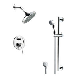 Remer - Sleek Chrome Rain Shower Faucet Set - Multi function shower faucet.