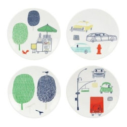 kate spade new york - kate spade new york Hopscotch Drive About Town Tidbits, Set of 4 - Our Hopscotch Drive About Town Tidbits Set of 4 by kate spade new york reflects the charm of city life. Crafted in chic white porcelain, this collection brings images of cars, trees and our everyday life in warm colors to your dining table.