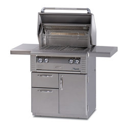 Alfresco - Alfresco ALX2-30 in Grill on Deluxe Cart | LP - This Alfresco Gas Grill features Two high-temp stainless steel main burners producing 5500 BTUs Integrated rotisserie with built-in motor & 15000 BTU infrared burner Smoker with 7000 BTU dedicated burner & oversize wood chunk drawer 542 sq. In. Actual grilling area plus four position adjustable warming rack Dual integrated high-intensity halogen work lights and User-friendly push button ignition with sealed 9v power source. This gas grill also includes 30 Inch Freestanding Grill Cart with (2) Access Doors.