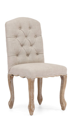 ZUO ERA - Noe Valley Chair Beige (set of 2) - Capture the elegance of a time past. These vintage French dining chairs evoke images of opulent palaces and grand feasts. Available in beige or charcoal linen, each chair features a weathered wood finish and tufted back. You won't be disappointed with these chic and comfy chairs.