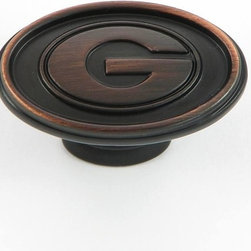 Stone Mill - University of Georgia Bulldogs Oil Rubbed Bronze Cabinet Knobs (Pack of 2) - Show your love for the University of Georgia Bulldogs with this set of two bronze cabinet knobs. Featuring an oil brushed finish and sporting a monogrammed G on each knob,these sleek fixtures are perfect for any University of Georgia Bulldogs fan.