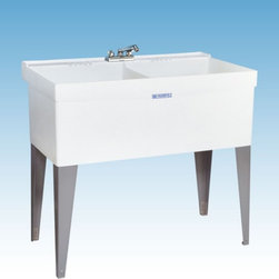 Mustee - Mustee 27F Double Basin Floor Mount Utility Sink - 27F - Shop for Commercial Laundry and Utility from Hayneedle.com! The Mustee 27F Double Basin Floor Mount Utility Sink lets you soak hand-wash dye and dry entire loads without worry about spilling a drop. Each of the massive 13-inch deep tubs features a 19-gallon capacity and had a one-piece molded construction (with an integrated drain/stopper) that prevents leakage. Mold- and mildew-resistant Durastone (a blend of fiberglass resin and stone) is used to create the piece which is supported by heavy-gauge steel legs. Unit is fitted for 4- or 8-inch center drain (not included).About Trumbull IndustriesFounded in 1922 as a single branch plumbing supply house Trumball Industries has evolved over the years in to a privately held corporation and full-line distributor with specialized divisions. With 6 branch locations Trumball Industries has several divisions: an Industrial Division that provides products and services to industrial manufacturers a Home Center Division that offers expertise in all major kitchen and bath products a Municipal Division that offers a full line of water and sewer products and a Master Distribution Center with 500 000 square feet housing over 80 000 products. Aside from providing quality services to their customers the people at Trumbull Industries are happy provide a tour of any of their facilities as well as assist you with any design layout or purchasing decisions.