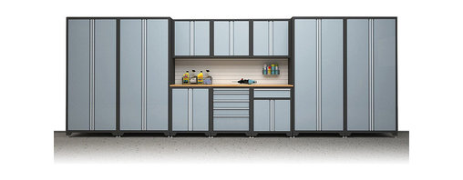 """Frontgate - Pro Series 11-pc Garage Cabinetry Set - 18-gauge steel construction. Powder-coated scratch and stain-resistant finish, with chrome trim. Includes leveling legs and perforated back-panel cutouts for wall mounting, if desired. Reinforced steel and magnetic door latches keep doors shut. Locker cabinet (1,000 lb. weight capacity, 42 cu. ft.) includes four adjustable steel shelves, steel pegboard side panels for additional tool storage, and doors that open to 180 degrees for easy access. Store tools, gear, paint, and other household equipment in the all-steel ultra-strong Garage Cabinetry. Heavy-duty and tough enough to withstand the wear and tear of any garage, yet still stylish and attractive, the storage solution includes a variety of sizes/configurations to meet any needs.  .  .  .  .  . Wall cabinet (200 lb. weight capacity, 76 cu. inches) includes two full-width shelves on ball-bearing slides and pegboard side panels for extra storage possibilities. . Two-door base cabinet with drawer (1,000 lb. weight capacity, 161 cu. inches) includes one pullout shelf on ball-bearing slides, a 6"""" tool drawer with locking mechanism, and steel pegboard side panels for extra storage . Maple butcher block top is UV coated and mounts atop the floor cabinets for a heavy duty workshop surface and comes in two sizes (hardware included) . Choose from 5, 7, 11, and 15-pc set. Arrives assembled ."""