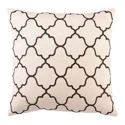 "DL Rhein - DL Rhein Moroccan Tile Brown Embroidered Linen Pillow - Clean and modern with an air of Mediterranean mystery, the Moroccan Tile pillow is a fusion of creativity and sophistication. Accent traditional or modern home decor with this DL Rhein design, handcrafted with an embroidered Moorish tile pattern in rich brown. 20"" x 20""; Linen pillow with embroidered detail; Feather down insert included; Dry clean only"