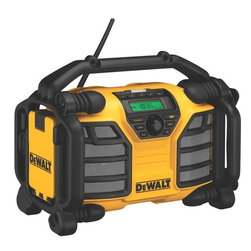 Black & Decker (U.S.) Inc - Dewalt - Dcr015 Worksite Charger/Radio - 12V/20V MAX WORKSITE CHARGER RADIO  2 Amp charger for 12V Max & 20V Max DeWalt -  battery packs - quick & convenient charging  Radio runs off 12V Max & 20V Max batteries  2 AC power outlets for more jobsite power  Has Auxiliary & USB ports to allow connection -  to CD, MP3, portable satellite receivers & ore  Charge via USB when radio plugged into wall -  outlet - charge time: 90 minutes or less    DCR015 WORKSITE CHARGER/RADIO    COLOR:Yellow/Black