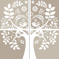 """WallPops - Love Birds Wall Art Decal Kit - Love Birds wall art kit is romantic and retro. With swirling flowery branches and love-struck birds, this kit is a beautiful focal point for a room.These decals come in a subtle nude pallette, sure to match with any decor. Love Birds Kit WallPops come on two 17.25"""" x 39"""" sheets and contains 4 total pieces. WallPops are always repositionable and removable."""