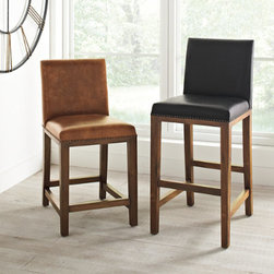 Grandin Road - Teak Backed Bar Stool - High-quality stools made of teak wood. Durable leather seats. Distinctive nailhead trim. Each arrives fully assembled. You can change your decor a dozen times, and the timeless look of our Teak Stools will fit in with any style you choose. By using beautiful, long-lasting Indonesian teak, we've put a spin on the barroom classic-and you'll only find it here. Our signature stools are crafted with a comfortable leather seat and handsome nailhead trim. Swivel stool rotates a full 360º.  .  .  .  . A Grandin Road exclusive.