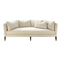 Thayer Coggin - Thayer Coggin | Parker Sofa - Made in the U.S.A. by Thayer Coggin.The Parker Sofa is a charming blend of classic and modern styles, delivering a well loved piece that is welcome to a variety of living spaces. Featuring a cozy crescent shape, a supportive low backrest hugs the lengthy perimeter of Parker's singular seat cushion. 4 back pillows and 1 kidney pillow fit the mold of its unique shape, offering plush support that is form fitting and re-positionable. Place Parker in the center of an open floor plan to show off its flattering figure, or nestle into a window nook thanks to the space-saving curvature of its frame. Parker Sofa is artfully crafted with an exposed wood base and hand-upholstered in a selection of luxurious fabrics.