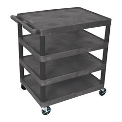 Luxor - Luxor Transport Cart - BC40-B - Luxor's BC's series utility carts are multi-tiered, lightweight carts made for every type of environment. It is constructed from high density polyethylene structural foam molded plastic shelves.