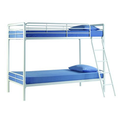 "Dorel Home Products - Twin Over Twin Bunk Bed - NOTE: ivgStores DOES NOT offer assembly on loft beds or bunk beds. Mattresses sold separately. Space saver design. Two twin beds. Full length guardrails for upper bunk for safety. Warranty: One year. Made from metal. White finish. 78.3 in. L x 45 in. W x 72.2 in. H (98 lbs.). ""Bunk Bed Warning. Please read before purchase."""