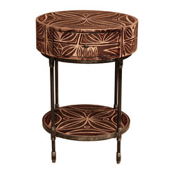 TerraSur - Ema Hand Painted Round Side Table - Liven up your living space with this unique round side table. You will never settle for boring again after laying your eyes on this one-of-a-kind hand-painted table.