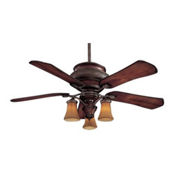 Minka Aire Fans - Ceiling Fan with Five Blades and Light Kit - F840-CF - Achieve cool comfort inside and out with this wet location ceiling fan. The light kit features craftsman glass and includes a cap for non-light use. A full function wall control regulates speed, direction and light dimming. 3-1/2 and 6-inch downrods with an integrated sloped ceiling adapter are also included for easy mounting. Takes (3) 60-watt incandescent flame bulb(s). Bulb(s) sold separately. UL listed. Wet location rated.