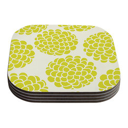 "Kess InHouse - Pom Graphic Design ""Grape Blossoms"" Yellow Circles Coasters (Set of 4) - Now you can drink in style with this KESS InHouse coaster set. This set of 4 coasters are made from a durable compressed wood material to endure daily use with a printed gloss seal that protects the artwork so you don't have to worry about your drink sweating and ruining the art. Give your guests something to ooo and ahhh over every time they pick up their drink. Perfect for gifts, weddings, showers, birthdays and just around the house, these KESS InHouse coasters will be the talk of any and all cocktail parties you throw."