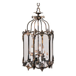"Inviting Home - Lois Xv Style Lantern - Louis XV style lantern; 22-1/4"" x 47""H; hand-crafted in Italy Louis XV style solid cast brass hand-crafted hexagonal lantern. Lantern has an antiqued bronze finish and beveled glass panels. Louis XV style lantern is electrified and has nine lights"