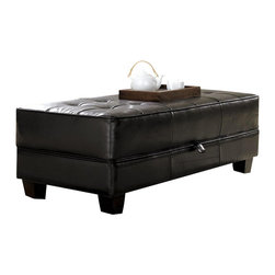 Riverside Furniture - Riverside Furniture Leather Occasional Large Cocktail Storage Ottoman in Black - Riverside Furniture - Ottomans - 102 - Riverside's products are designed and constructed for use in the home and are generally not intended for rental, commercial, institutional or other applications not considered to be household usage.