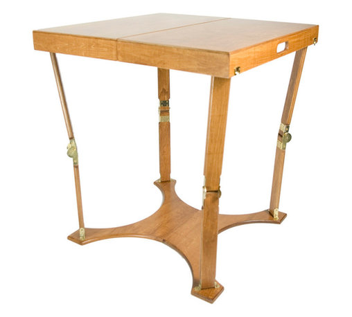 """Spiderlegs - Spiderlegs Handcrafted Portable Wooden Folding Cafi Table, Warm Oak Finish - Spiderlegs Hand Crafted portable wooden folding table with a patented folding design and original locking hardware. Crafted from Baltic Birch and finished in a warm oak color, the collection includes a Natural Birch, Warm Oak, or a Red Mahogany stain finish, all with a polyurethane top coat for a fine furniture finish. The table is designed to accommodate up to four adults. Table folds like a suitcase for easy storage and has its own built in handle for easy for transport. The folded dimensions are 30"""" x 15"""" x 4.75"""". The unique folding table base adds stability and flexes slightly with moderately uneven surfaces (prevents rocking common to caf��_��_ pedestal tables). Items such as table cover, picnic supplies or paperwork can be stored or carried in spaces inside the folded table. The locking hinges prevent the table from collapsing when opened. Each leg has been tested to support more than 75 pounds (recommended load limit). Hinge locks may be easily released by pressing the solid brass lock buttons between the thumb and a finger. The table may be used indoors or outdoors and is built 29 inches high to be more compatible with the height of a typical dining table. On carpeted surfaces the base allows the table to be moved (slid) without lifting the table, a useful feature for partially completed puzzles, projects, or scrapbooks. Uses include extended dining, games, cards, puzzles, travel (RVs, motel table), extra desk space, elegant camping and tail gate parties, exhibitions and displays, picnics, patio dining, events. Often used as a dining table in small apartments and condos without dining rooms. Can be store under a bed, stand up in a coat closets, on a shelf. With the attractive furniture finish storing the table in a visible location may be desirable. Clean with a damp cloth. Renew wood surfaces with wood care products. US Patent numbers 6,779,466 and 7,337,728. European """