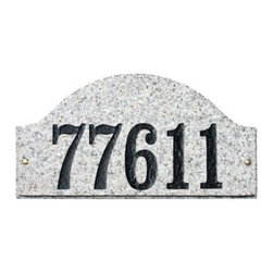 QualArc Ridgecrest Arch Granite Address Plaque - The stunning curves of the QualArc Ridgecrest Arch Granite Address Plaque is an exquisite way to display your house number. This solid granite arch plaque can be engraved with up to five digits measuring 4 inches each. Customize your selection with black, gold, mocha, and white font options and seven stone colors including autumn leaf natural, black polished, emerald green polished, five color natural, quartzite, sand granite polished, and white granite natural. Measures 15L x 7.5W x 2H inches and mounts easily with the included hardware.About QualArcBased in Rancho Cordova, California, QualArc makes the things that mark your home. Using unique and beautiful weatherproof materials and industry-standard manufacturing processes, they create address plaques, mailboxes, and more that are built to last. Stone, aluminum, steel, granite and more come together to create high-quality markers with high curb appeal. It's easy for friends and family to find your house when it's marked with a QualArc product.