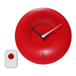 Infinity Instruments, Ltd. - Wireless Designer Doorbell Clock, Red - Infinity Instruments Doorbell Clock is a one of a kind wall and/or tabletop clock that also doubles as a doorbell. Has a wireless remote and 20 different tones to choose from. The uses of this clock is limitless. With a modern design this stylish clock also comes with flashing LED reminder lights.