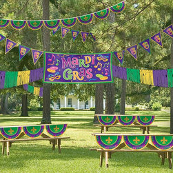 Mardi Gras Outdoor Decorating Kit - I dare you to decorate the outside of your house for Mardi Gras. But if you can't, these decorations would look great indoors too.